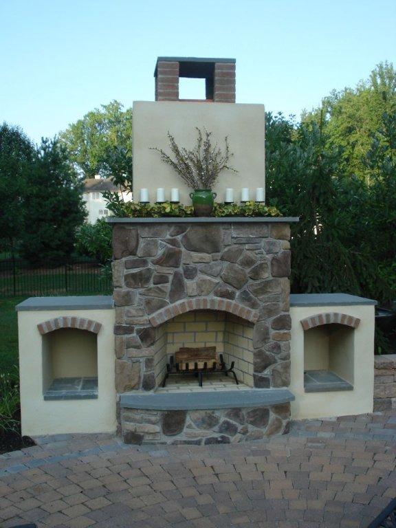Custom Patio Design with Fireplace- Amazing Deck