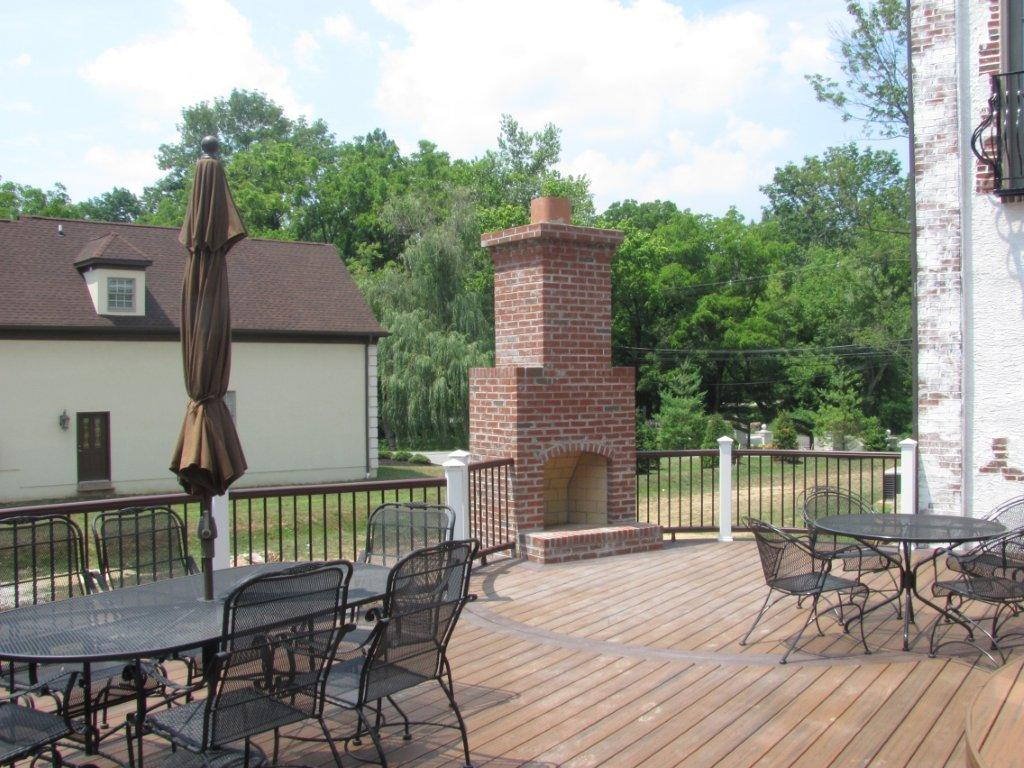Outdoor Patio with Outdoor Fireplace- Amazing Deck