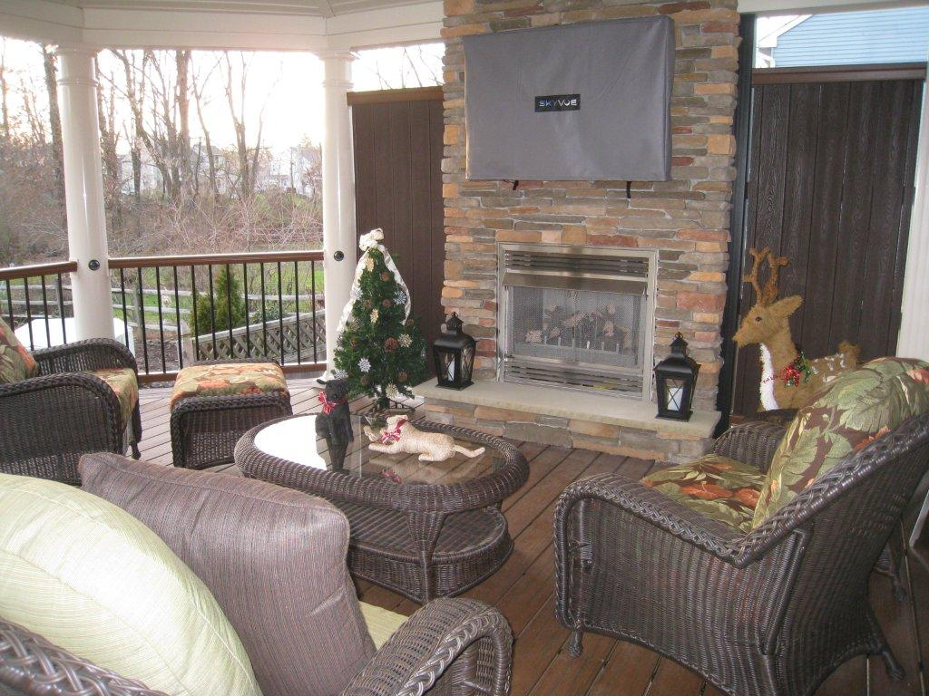 Custom Covered Deck Design- Deck Fireplace- Amazing Deck