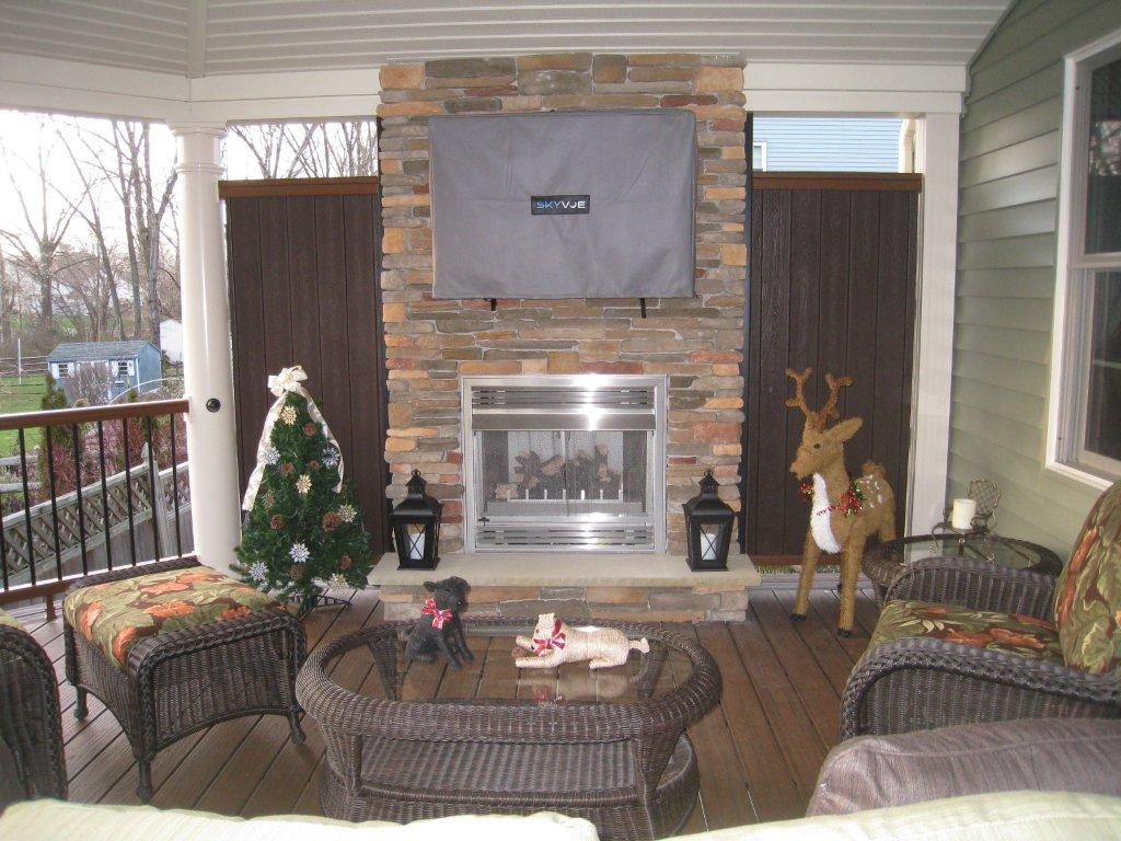 Covered Deck with Outdoor Fireplace- Amazing Deck