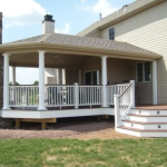 Deck with Roof and White Railing- Amazing Deck