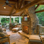Covered Deck with Custom Stone Fireplace- Amazing Deck