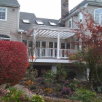 White Trex Deck with Multi Level and Custom Pergola- Amazing Deck