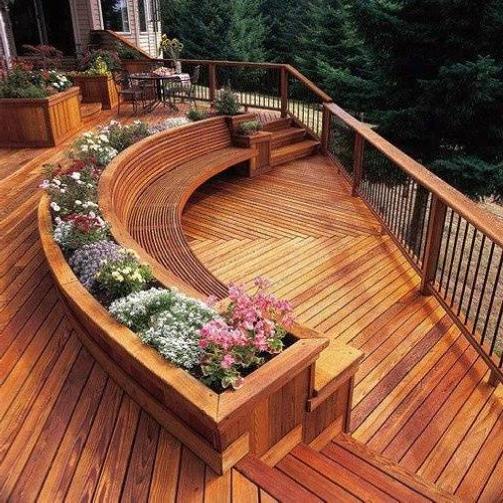 Patio and deck designs to inspire your dream deck for Circular garden decking