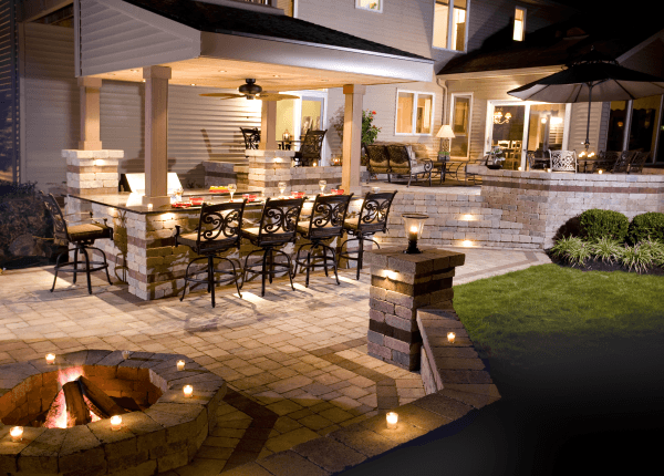 Custom Paver Stone Patio with Outdoor Kitchen, Firepit and Bar- Amazing Deck