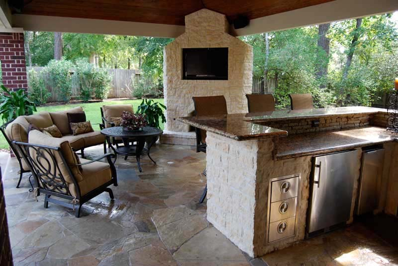 Custom Covered Deck with Outdoor Kitchen- Amazing Deck