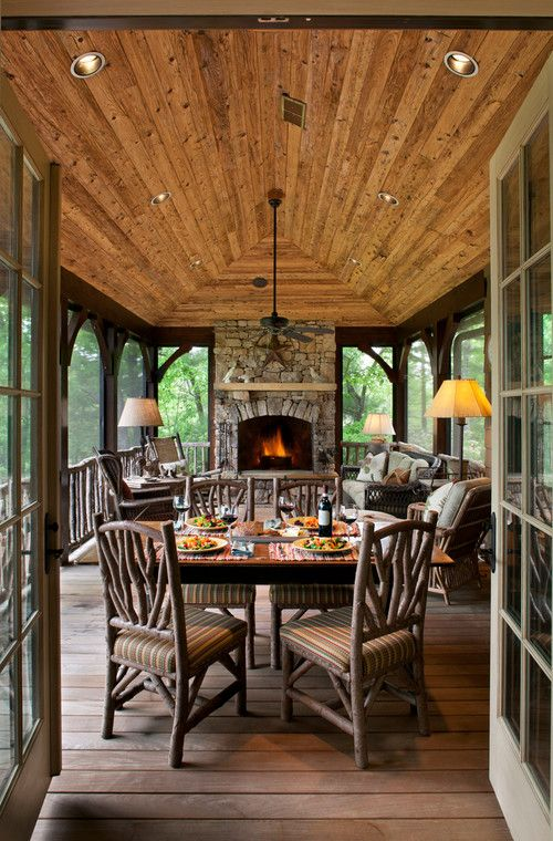 Custom Screened In Porch with Wooden Vaulted Ceiling- Screened In Porch Designs- Amazing Deck