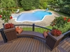 Curved Deck with Stone Pool Patio near Morristown NJ