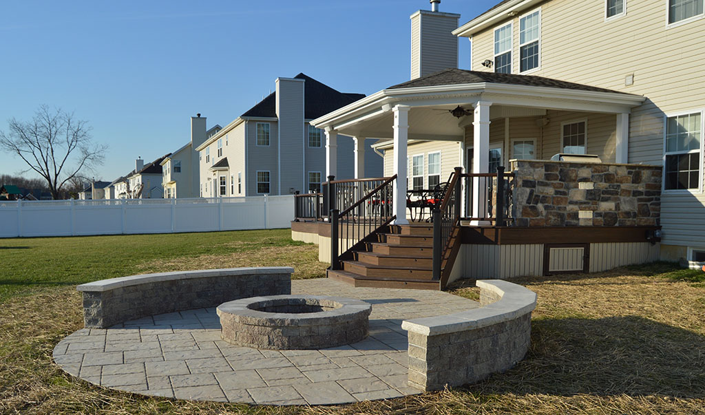 Custom Paver Stone Patio with Fire Pit- Penn Valley, Pa