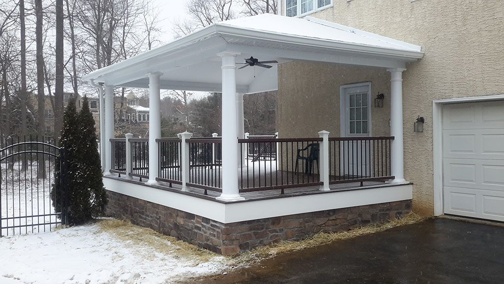 Custom Covered Deck with White Trex- Perkasie, Pa