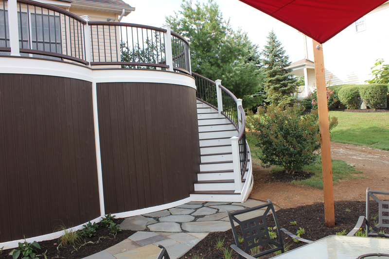 Curved Deck with Paver Stone Patio- Amazing Deck