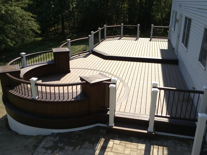 Aerial View of Curved Deck Designs- Amazing Deck