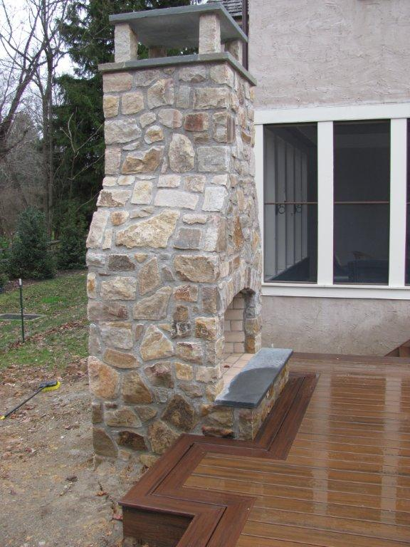 Outdoor Stone Fireplace- Amazing Deck