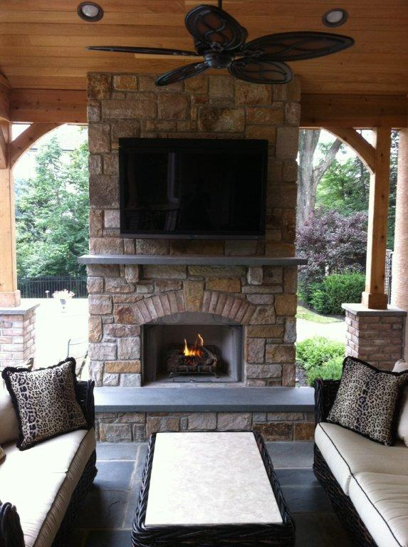 Outdoor Fireplace Deck Design Amazing