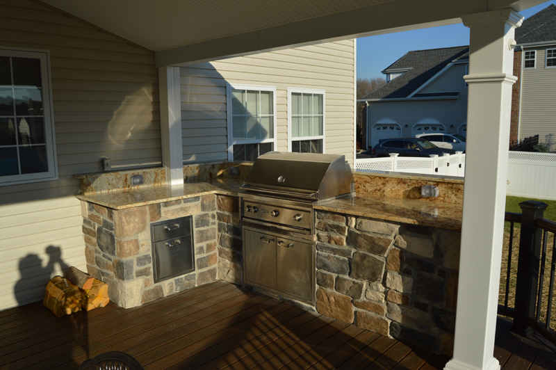 Covered Deck Design with Outdoor Kitchen- Amazing Deck