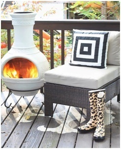 Small Chimnea Outdoor Firepit Design- Deck Fireplaces- Amazing Deck