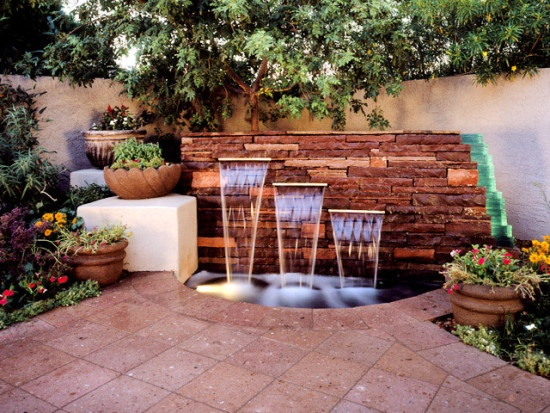 Outdoor Patio Waterfall Feature- Amazing Deck