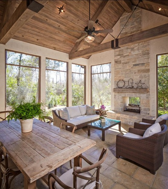 Screened In Porch Design Idea with Wooden Beams- Amazing Deck